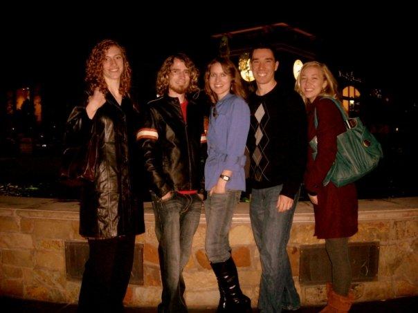 friends near fountains in roseville