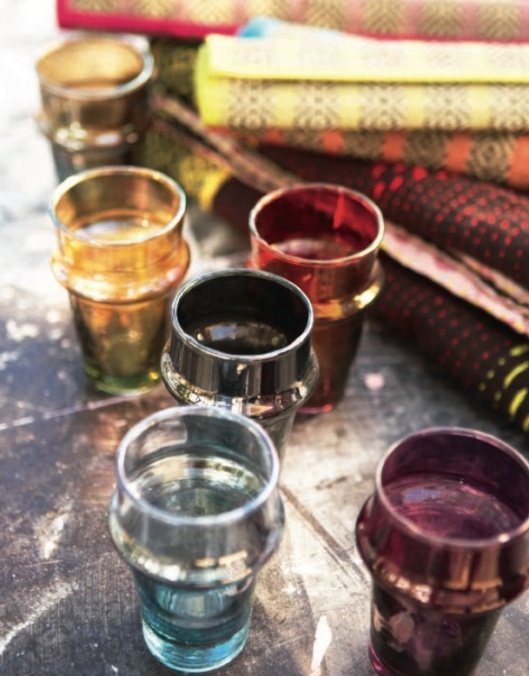 coloured moroccan tea glasses from the spring Toast UK catalogue
