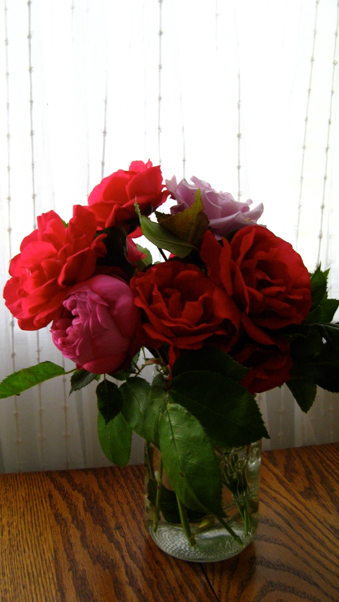 rose bouquet in mason jar on wood table in front of white swiss dot curtains from ikea
