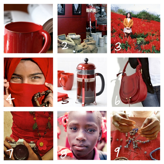 color of the day, red, coffee, africa, beads, flowers, haiti, purse, french press, camera