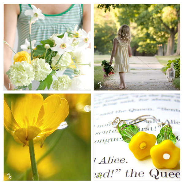 Yellow and Green Spring Summer Pretty Photography Flowers Children Earrings Girl Sunshine Oaxacaborn