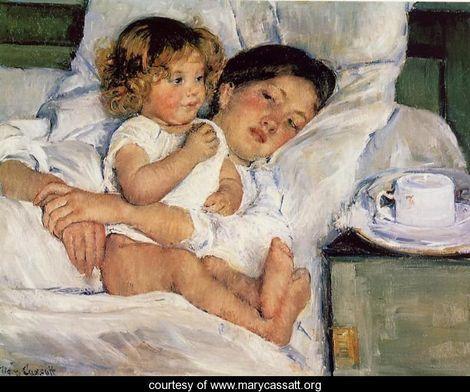 Breakfast-in-Bed Mary Cassatt painting