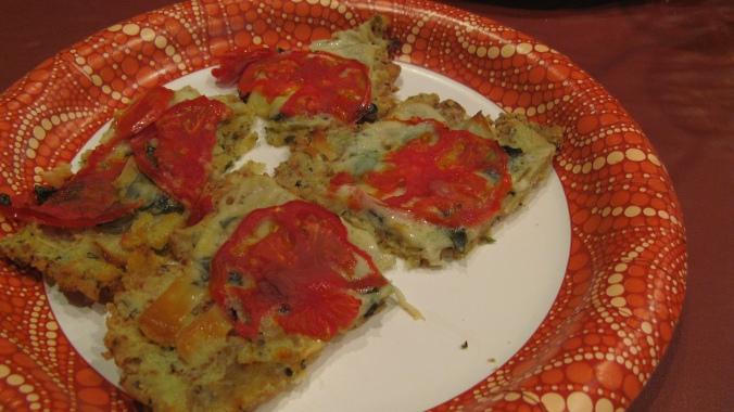the August Break image of gluten-free bruschetta with vegan cheese and organic tomatos and basil