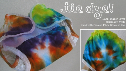 the August Break image of a tie-dyed cloth diaper, dyed with Procion fiber-reactive dye from the Dharma Trading Company