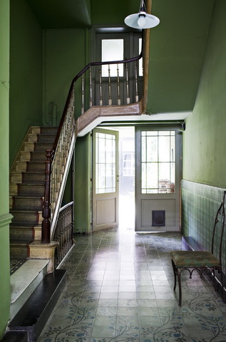 photography from danish photographer morten holtum http://www.holtum.dk/  - open door, green, entryway, wooden staircase, interior, decor