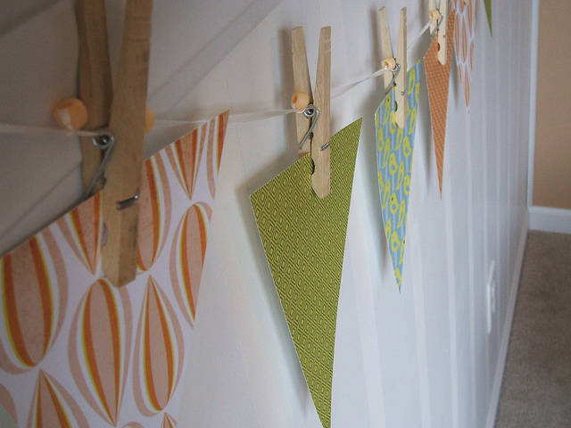 Fall color shabby chic paper bunting garland via roundabout shop on flickr