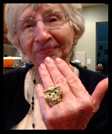 grandma modeling the forever 21 owl ring