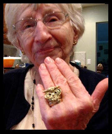 grandma modeling the forever 21 owl ring