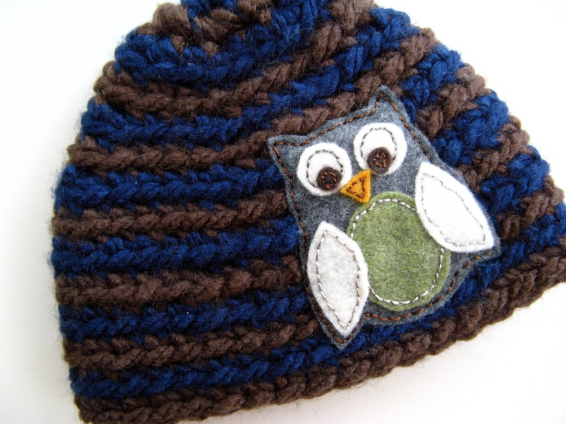Handmade baby boys crochet knit striped owl hat - felt owl applique with vintage silk embroidery