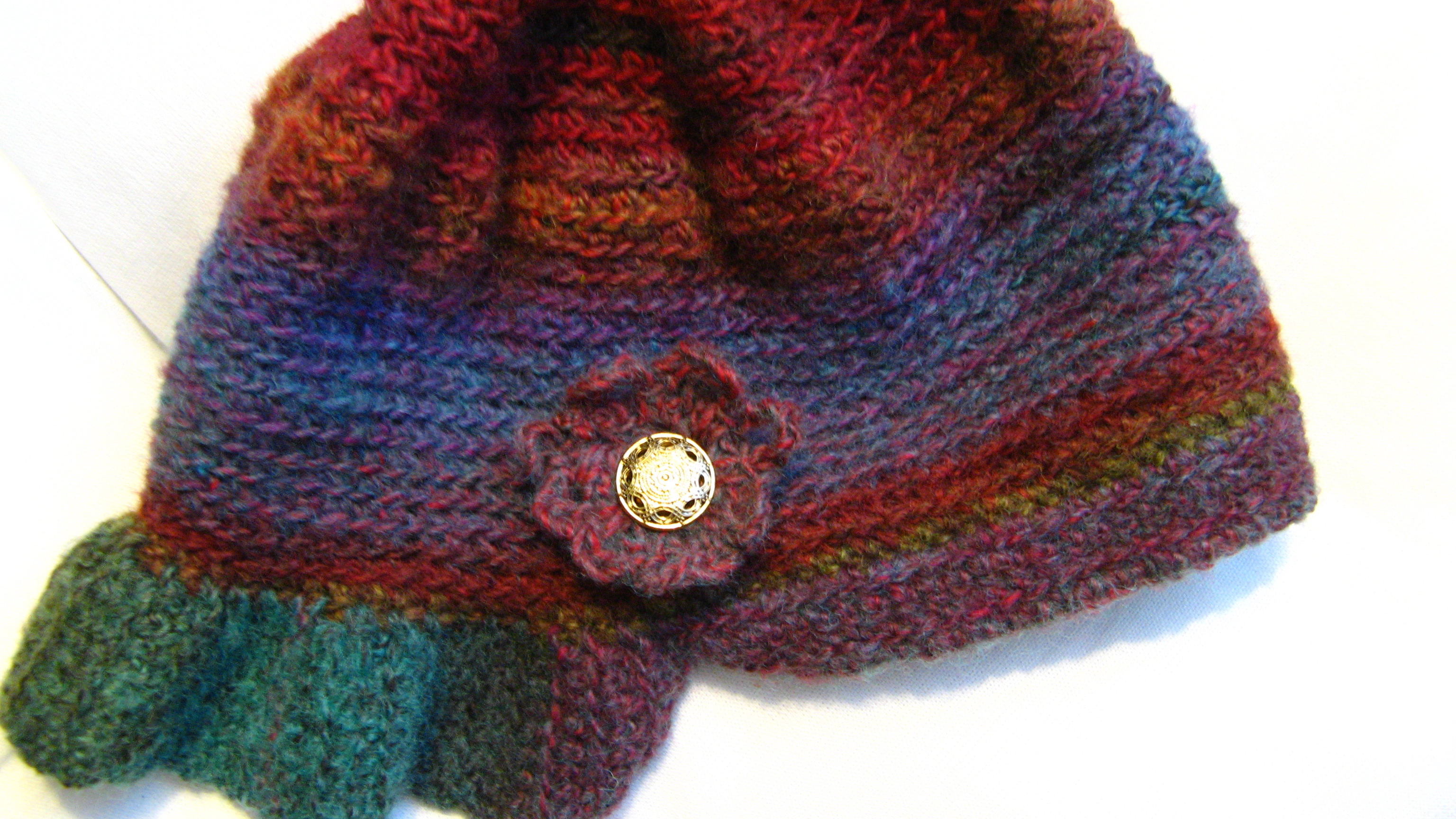 original crochet design – handmade wool hat with flower and gold ...