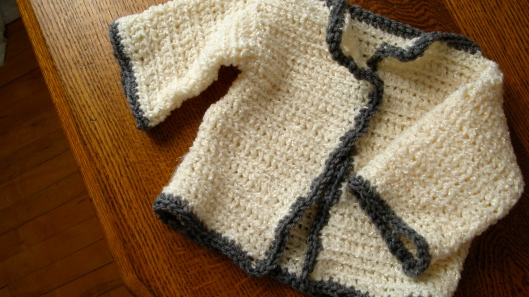 baby cardigan in cream and grey, inspired by the classic irish fishermen's sweater