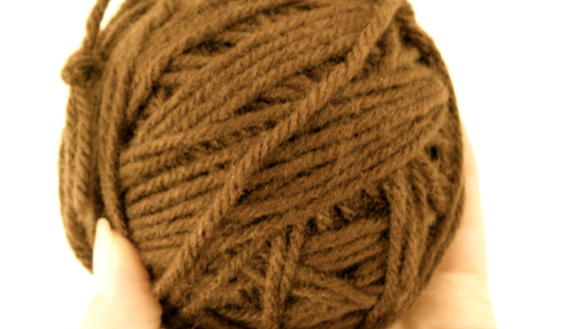 roll of brown vintage yarn