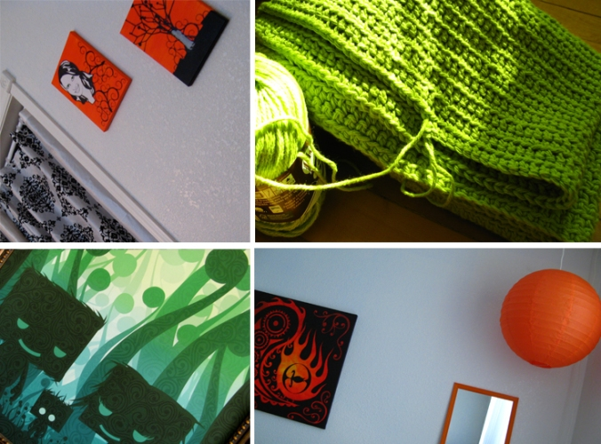 orange, green and black and white damask baby and master bedroom decor