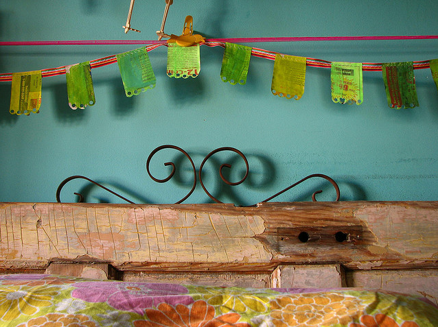 green newspaper bunting via jek in the box on flickr