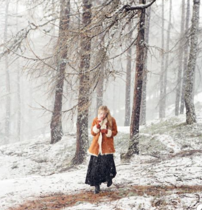 image via the Toast UK winter book - snow, forest, girl in coat