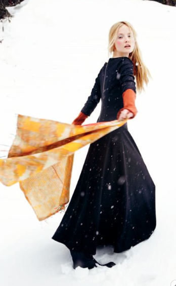 image via Toast UK winter book - snow, girl, yellow scarf, black dress
