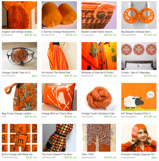 click to view the glorious orange for autumn treasury on etsy
