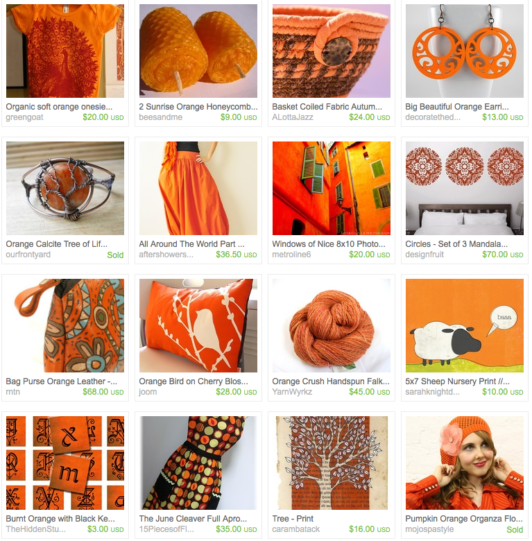 click to view the glorious orange for autumn treasury on etsy