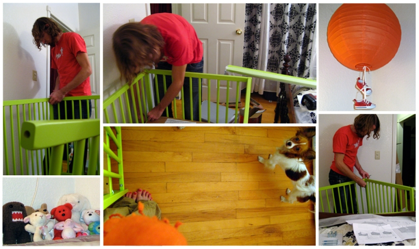 nursery time! assembling the lime green IKEA SOMNAT baby crib into our orange and green and black and white damask room