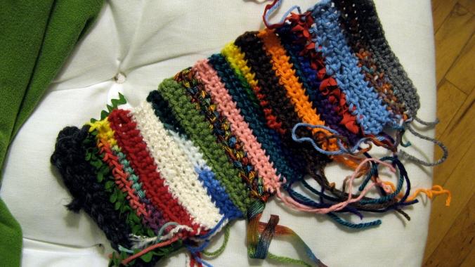 crochet patchwork yarn and vintage ribbon - work in progress - boho, bohemian, hippy, hippie