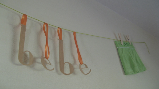 bebe garland - orange and green and kraft themed baby shower