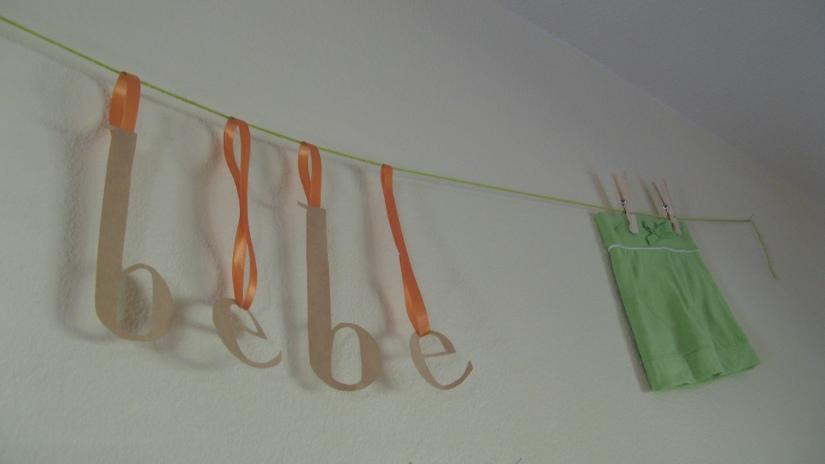 bebe garland - orange and green and kraft themed baby shower