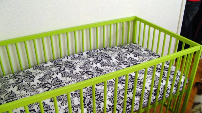 IKEA SOMNAT crib in lime green with Sophia Fitted Crib Sheetby JoJo - Damask Print in black and white