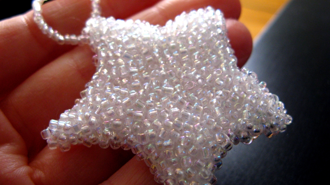 handbeaded glass seed bead star christmas ornament