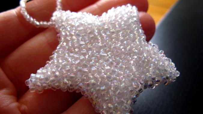 handbeaded glass seed bead star christmas ornament