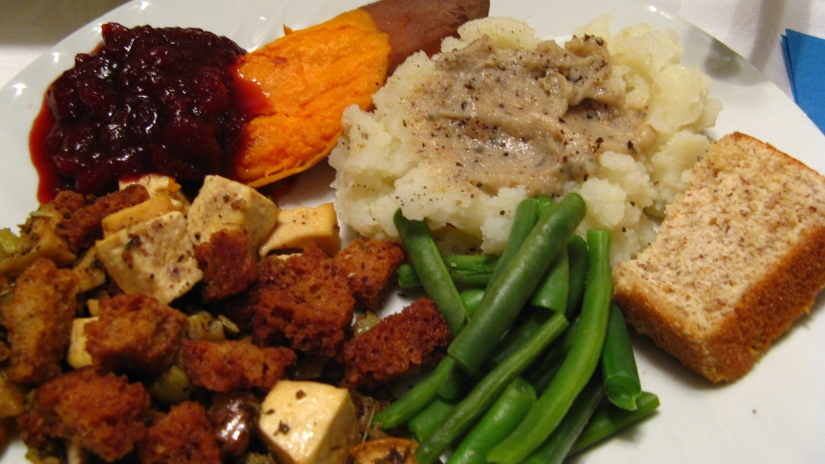 thanksgiving meal - stuffing/dressing, green beans, cranberry sauce, yams, mashed potatos and gravy, bread -- all homemade, gluten-free, corn-free, and dairy-free