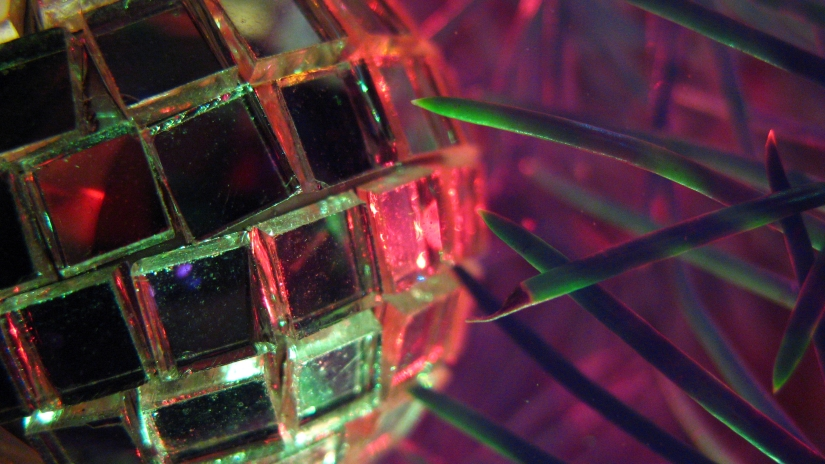 macro shot of mirrored disco ball ornament on a christmas tree