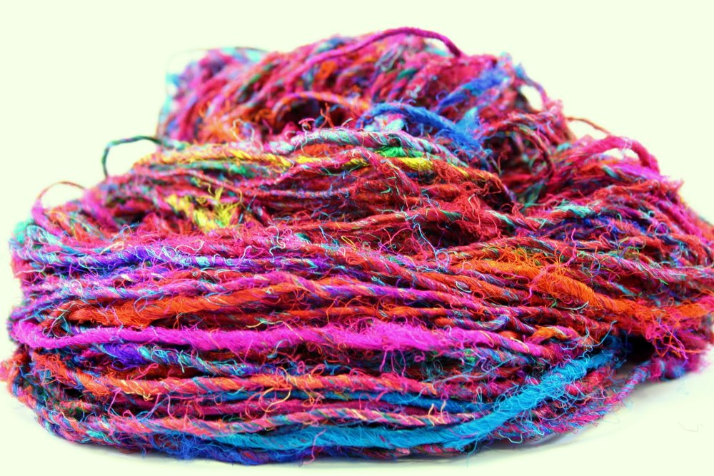 Recycled Silk Sari Ribbon Yarn Art Knitting Crochet available for sale via Darn Good Yarn