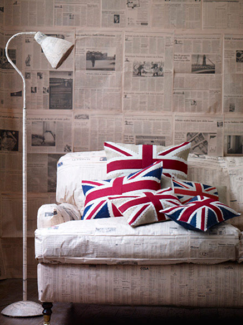 hand embroidered english flag barbara coupe cushions as featured on decor8