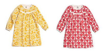 danish flower red and birds and flowers yellow - dresses from winter water factory as featured on bloesem kids