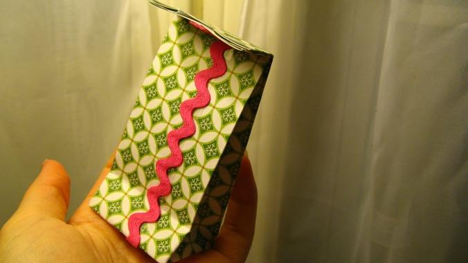 handmade tiny gift bag made with vintage rickrack