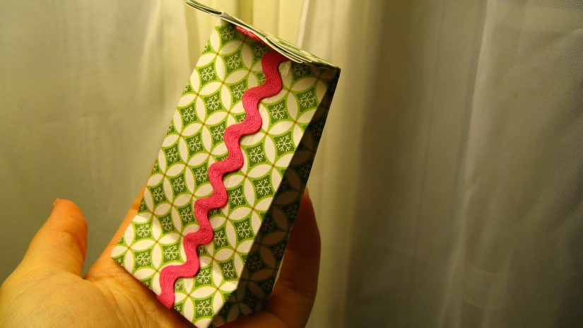 handmade tiny gift bag made with vintage rickrack