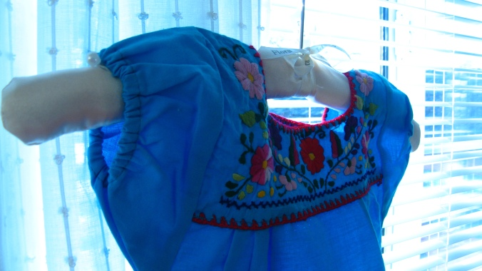 mexican little girl's embroidered shirt from oaxaca, mexico