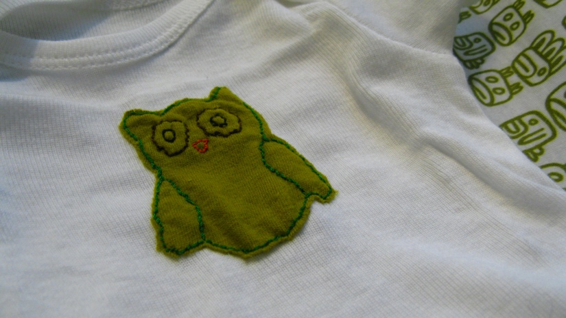 fabric owl, upcycled from tshirt, emroidered onto a baby onesie