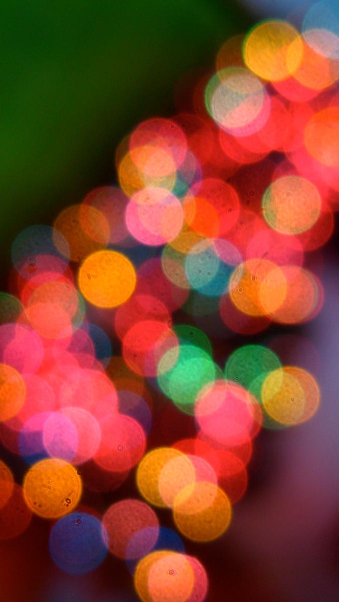 colorful bokeh christmas tree