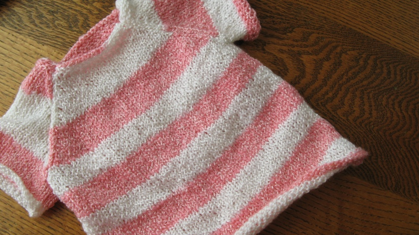 handmade knit knitted pink and white striped short sleeve baby girl sweater