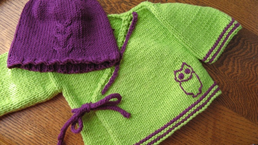 handmade knit knitted green and purple kimono style baby girl sweater with matching knit had and embroidered owl