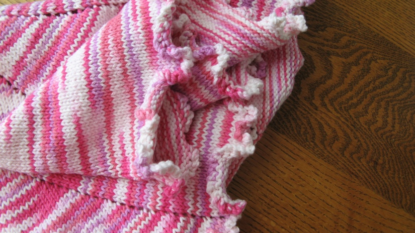 handmade knit knitted white and pink baby girl blanket with ruffle