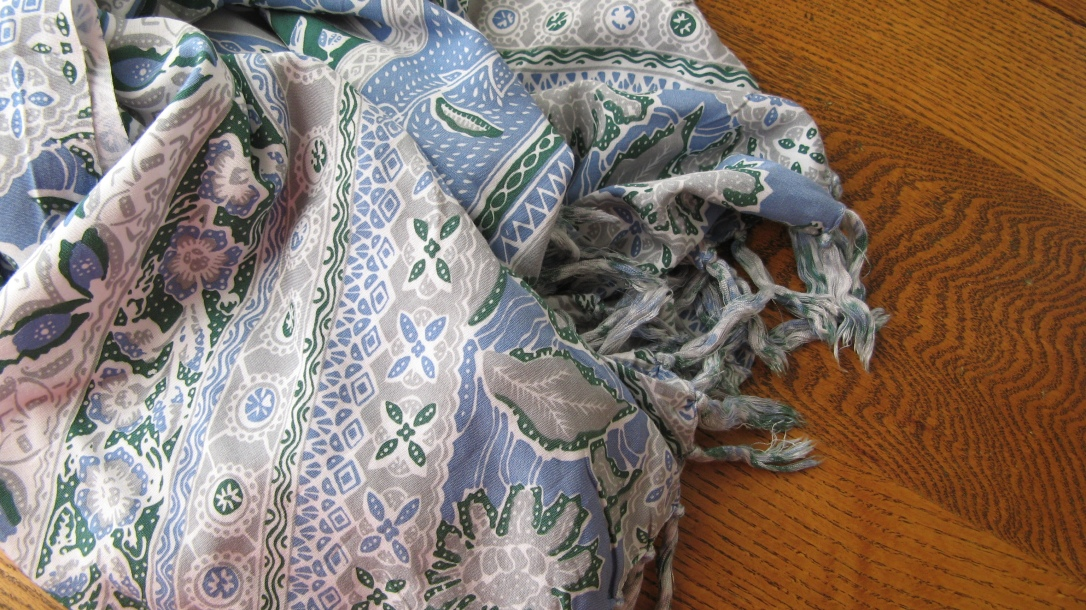 pretty pale blue grey and green indonesian sarong for mama