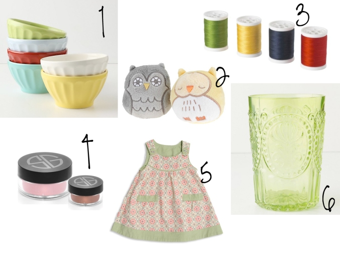 Anthropologie Latte Bowls - Urban Outfitters Plushy Owl - Ikea Thread Set - Studio Gear Star Dust Powder - Pumpkin Patch Infant Newborn Girl Sweet Pinny - Anthropologie Fleur-De-Lys Tumbler in Chartreuse