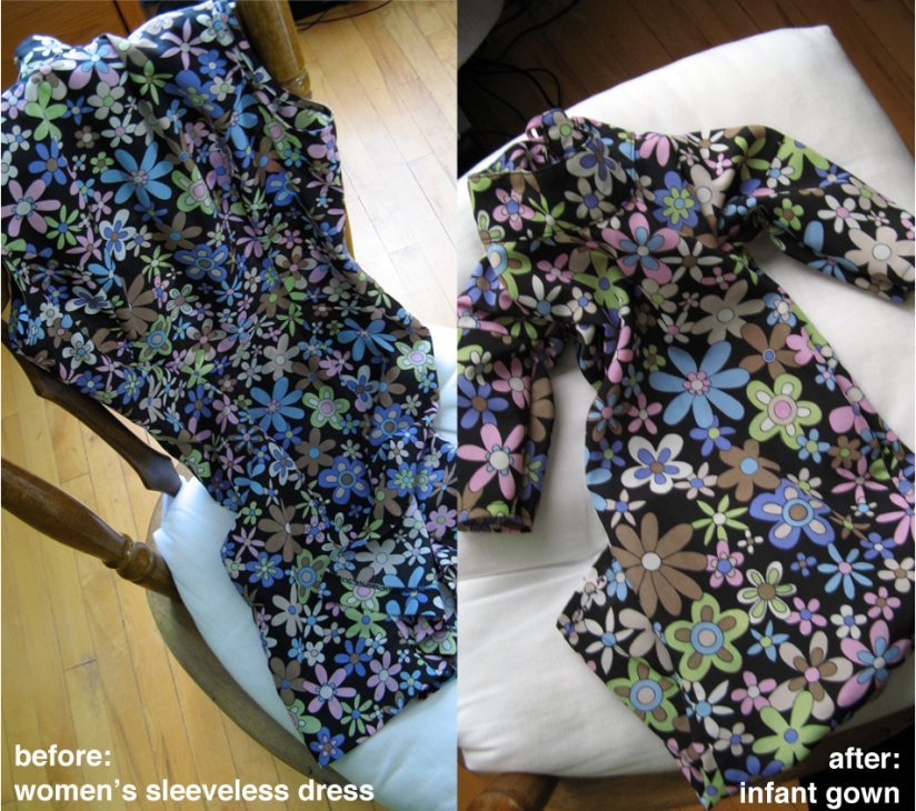 Before and After photos of a women's dress upcycled into an infant sleep sack/baby gown - vintage daisies 60's