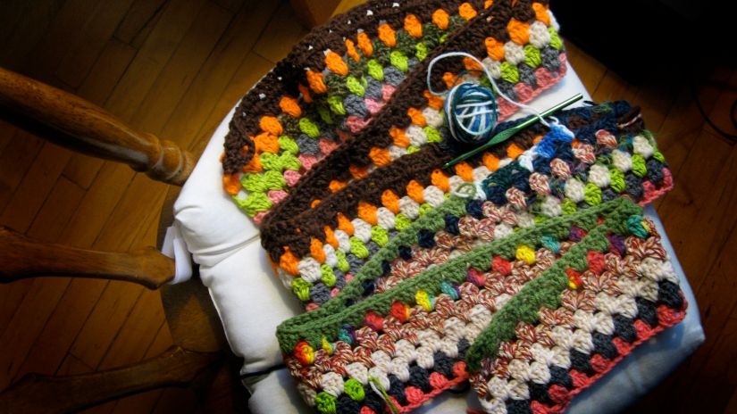 Crochet Granny Stripe Blanket/Afghan - made from various leftover yarn remnants and scraps - acrylic, wool, cotton