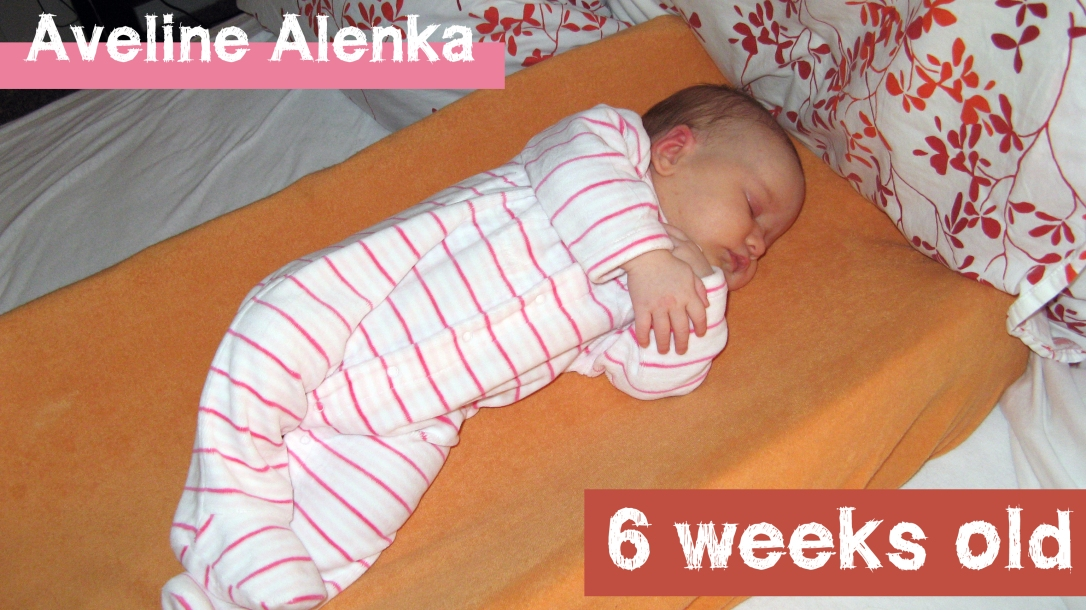 baby blog - oaxacaborn - Aveline Alenka at six weeks old - cosleeping on a Summer Infant contoured changing table cushion with a Summer Infant organic cotton cover