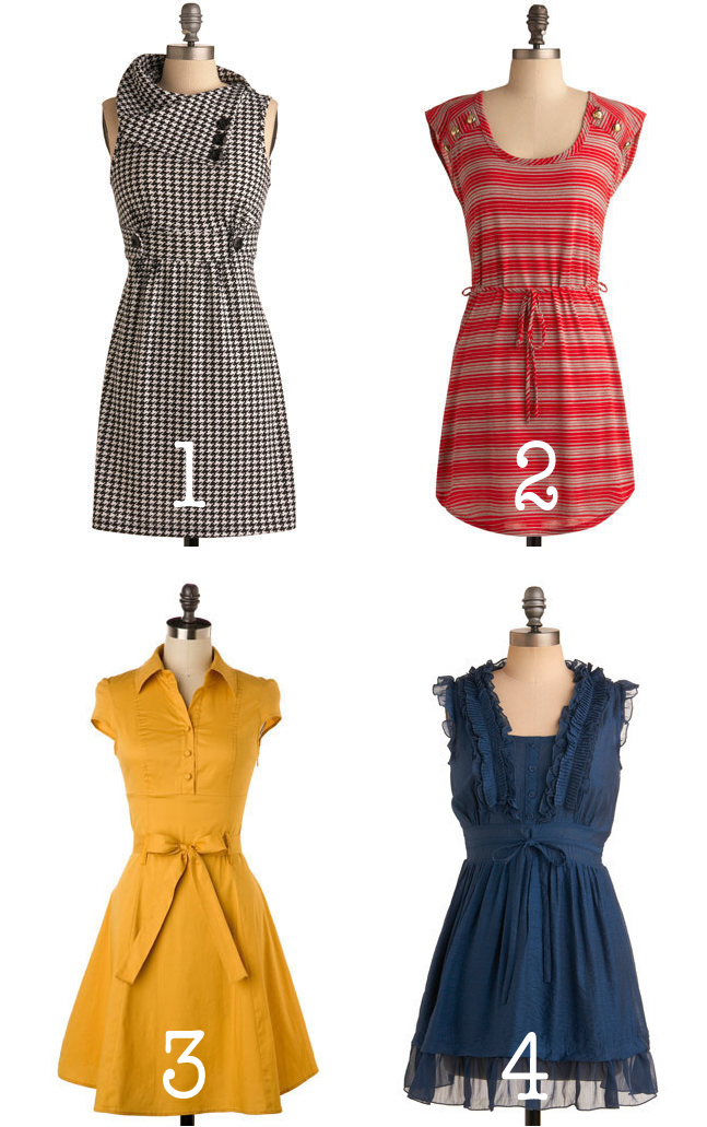 Cable Car Tour, Now Boarding, Soda Fountain, and Terrarium Workshop -- all dresses from ModCloth.com