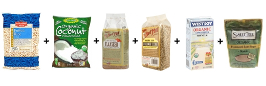 puffed rice cereal, let's do organic unsweetened coconut, bob's red mill flax seeds, bob's red mill raw sunflower seeds, westsoy unsweetened organic soy milk, sweet tree palm sugar