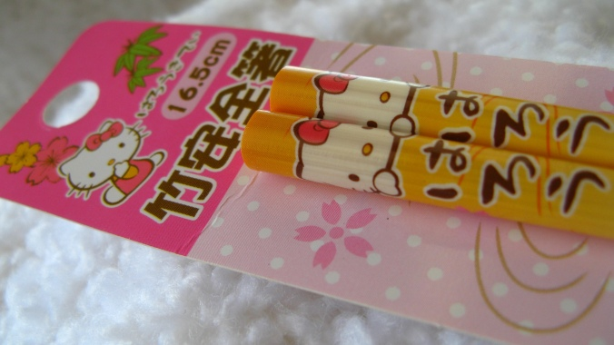hello kitty -- little girl chopsticks -- from japan
